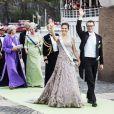La princesse Victoria et le prince Daniel à l'embarquement à bord du SS Stockholm lors du mariage de la princesse Madeleine et de Chris O'Neill le 8 juin 2013 à Stockholm, en route pour la réception à Drottningholm.