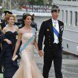Marie et Joachim de Danemark embarquent à bord du SS Stockholm lors du mariage de la princesse Madeleine et de Chris O'Neill le 8 juin 2013 à Stockholm, en route pour la réception à Drottningholm.