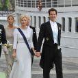 Le prince Pavlos de Grece et la princesse Marie-Chantal de Grèce embarquent à bord du SS Stockholm lors du mariage de la princesse Madeleine et de Chris O'Neill le 8 juin 2013 à Stockholm, en route pour la réception à Drottningholm.