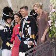 La princesse Charlene de Monaco avec Frederik et Mary de Danemark au mariage de la princesse Madeleine de Suède et de Chris O'Neill le 8 juin 2013 au palais royal à Stockholm.