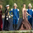 La princesse Charlene de Monaco arrivant à Drottningholm pour la réception du mariage de la princesse Madeleine de Suède et de Chris O'Neill le 8 juin 2013 au palais royal à Stockholm.