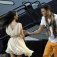 Baptiste Giabiconi et Joyce Jonathanlors de la fête de la musique sur France 2 eten direct de Marseillele 21 juin 2013.
