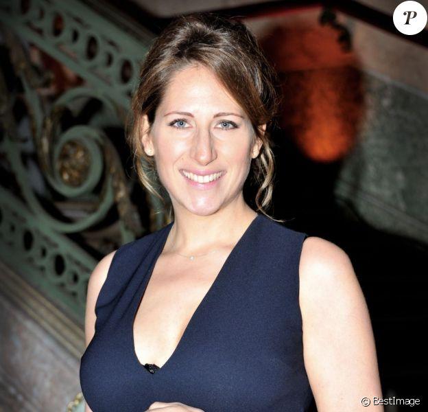 Maud Fontenoy, enceinte, lors de son gala annuel en l'honneur de sa fondation, à Paris le mardi 9 avril 2013.