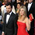Jennifer Aniston et Justin Theroux lors de la 85eme cérémonie des Oscars à Hollywood, le 24 février 2013.