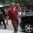 Heidi Klum et Martin Kirsten arrivent avec les enfants de la belle mannequin : Leni, Lou, Johan et Henry au Greenwich Hotel de Tribeca, à New York, le 9 juillet 2013.