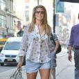 Heidi Klum quitte son hôtel pour se rendre dans un building de New York pour un rendez-vous secret, le 9 juillet 2013.