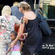 Heidi Klum à la sortie de son hôtel avec sa fille, à New York, le 8 juillet 2013.