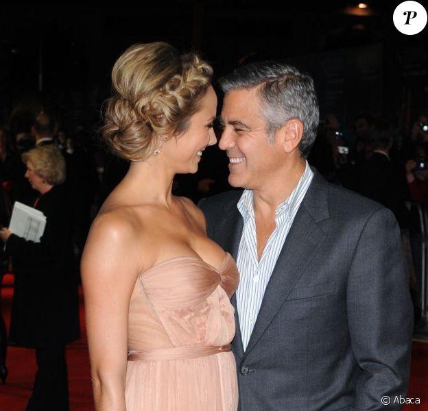 George Clooney et Stacy Keibler à Londres pour la projection de The Descendants le 20 octobre 2011
