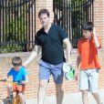 Nick Clegg (Vice-Premier ministre du Royaume-Uni) passe ses vacances avec son épouse Miriam et ses enfants Antonio, Miguel et Alberto à Olmedo en Espagne le 25 juillet 2013.