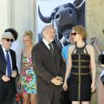 """Jean-François Derec, Rufus et Agnès Soral pendant le dernier jour de tournage du film """"Salaud, on t'aime"""" à Saint-Gervais-les-Bains, le 31 juillet 2013."""