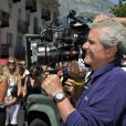 """Claude Lelouch pendant le dernier jour de tournage du film """"Salaud, on t'aime"""" à Saint-Gervais-les-Bains, le 31 juillet 2013."""