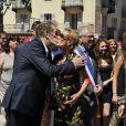 """Eddy Mitchell, Sandrine Bonnaire, Jean-Marc Peillex, maire de la ville savoyarde pendant le dernier jour de tournage du film """"Salaud, on t'aime"""" à Saint-Gervais-les-Bains, le 31 juillet 2013."""