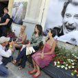 """Valérie Kaprisky pendant le dernier jour de tournage du film """"Salaud, on t'aime"""" à Saint-Gervais-les-Bains, le 31 juillet 2013."""