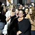 """Pauline Lefèvre, Irène Jacob, Isabelle de Hertogh, Sarah Kazemy et Jenna Thiam pendant le dernier jour de tournage du film """"Salaud, on t'aime"""" à Saint-Gervais-les-Bains, le 31 juillet 2013."""