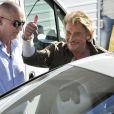 """Johnny Hallyday pendant le dernier jour de tournage du film """"Salaud, on t'aime"""" à Saint-Gervais-les-Bains, le 31 juillet 2013."""