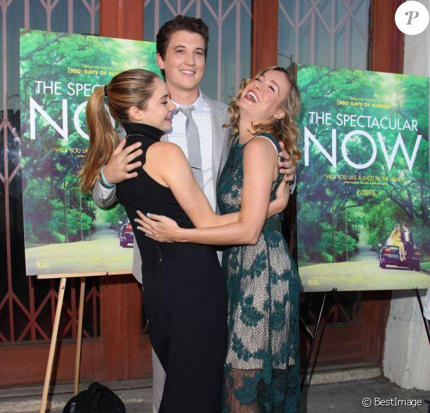 Brie Larson, Shailene Woodley et Miles Teller lors de l'avant-première du film The Wpectaculair Now à Los Angeles le 30 juillet 2013