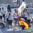 Le prince Felipe d'Espagne à bord du  voilier Aifos le 31 juillet 2013 au 3e jour de la Copa del Rey, au large de Palma de Majorque.