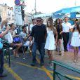 Effervescence autour de Sylvester Stallone au côté de sa femme Jennifer Flavin et ses filles Sophia, Sistine et Scarlet en vacances à Saint-Tropez le 3 août 2013.