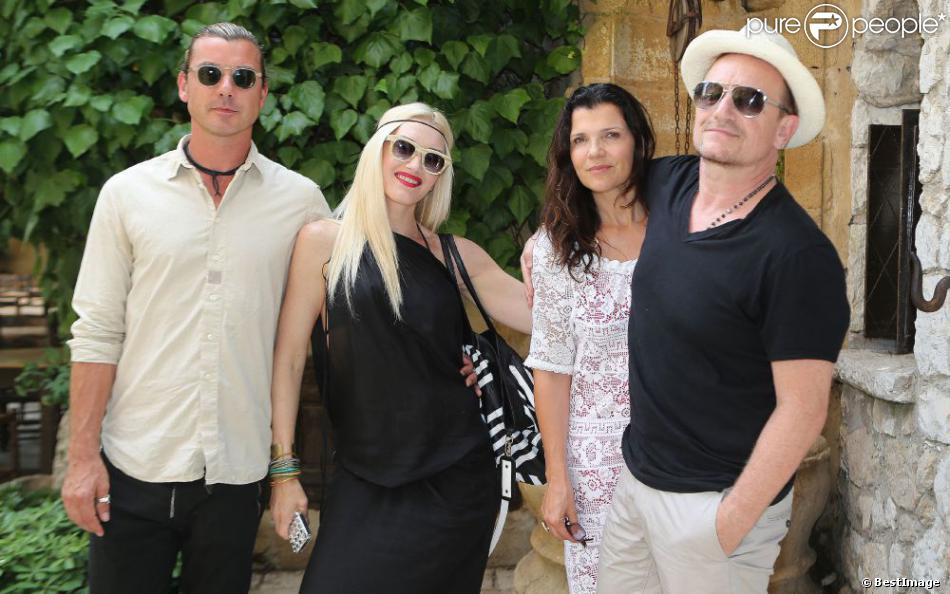 gavin rossdale gwen stefani alison hewson et bono d jeunent au restaurant la colombe d 39 or. Black Bedroom Furniture Sets. Home Design Ideas