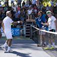 John McEnroe, Henri Leconte, Yannick Noah, Mansour Bahramià Knokke le 18 août 2013.