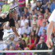 Yannick Noah, les cheveux courts, lors d'un tournoi d'ex-champions de tennis à Knokke le 18 août 2013.