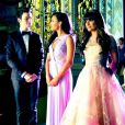 Lea Michele, Naya Rivera et Chris Colfer sur le tournage de la 4e saison de Glee, le 4 avril 2012.
