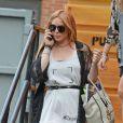 Lindsay Lohan au téléphone à New York, le 30 août 2013.