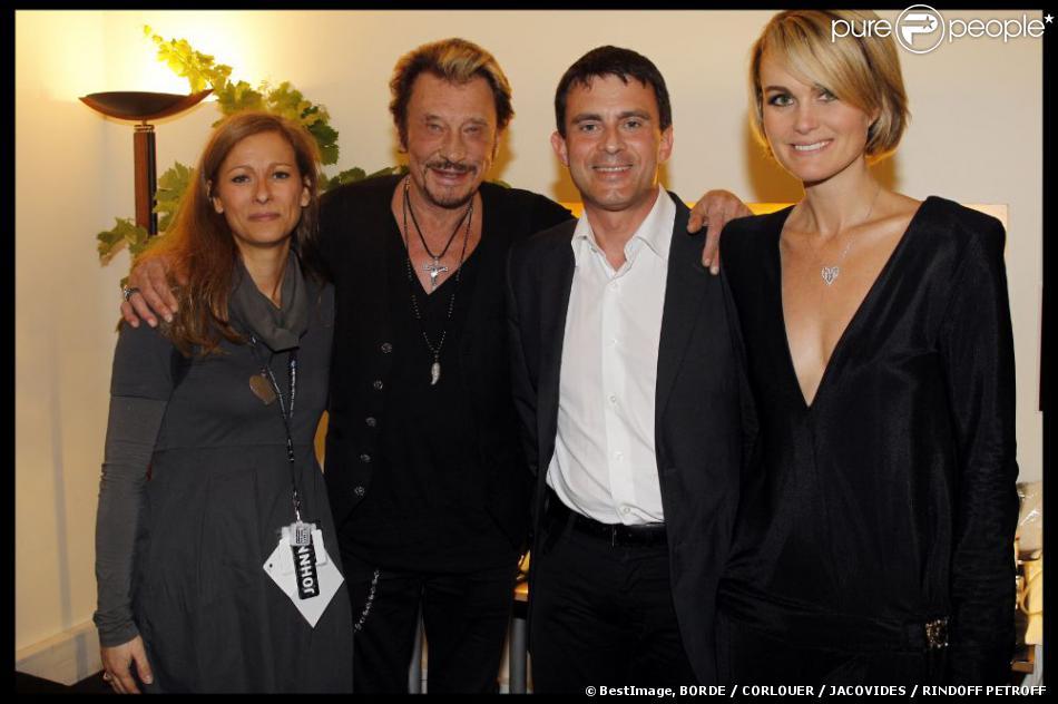 EXCLU : Johnny et Laeticia Hallyday, Anne Gravoin et Manuel Valls au Stade de France pour les concerts de Johnny Hallyday, le 16 juin 2012.