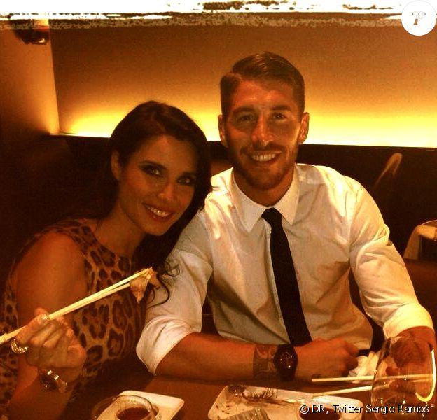 Sergio Ramos et Pilar Rubio dans un restaurant japonais à Madrid le 7 septembre 2013.