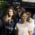 La princesse Victoria de Suède, la princesse Madeleine, enceinte, le prince Daniel lors de l'hommage rendu le 8 septembre 2013 à feue la princesse Lilian, décédée le 10 mars, en l'église anglicane St Peter et St Sigfrid de Stockholm.