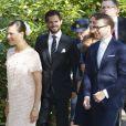 La princesse Victoria, le prince Carl Philip, la princesse Madeleine et le prince Daniel lors de l'hommage rendu le 8 septembre 2013 à feue la princesse Lilian, décédée le 10 mars, en l'église anglicane St Peter et St Sigfrid de Stockholm.
