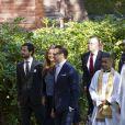 La princesse Madeleine, enceinte, entourée des princes Carl Philip et Daniel lors de l'hommage rendu le 8 septembre 2013 à feue la princesse Lilian, décédée le 10 mars, en l'église anglicane St Peter et St Sigfrid de Stockholm.