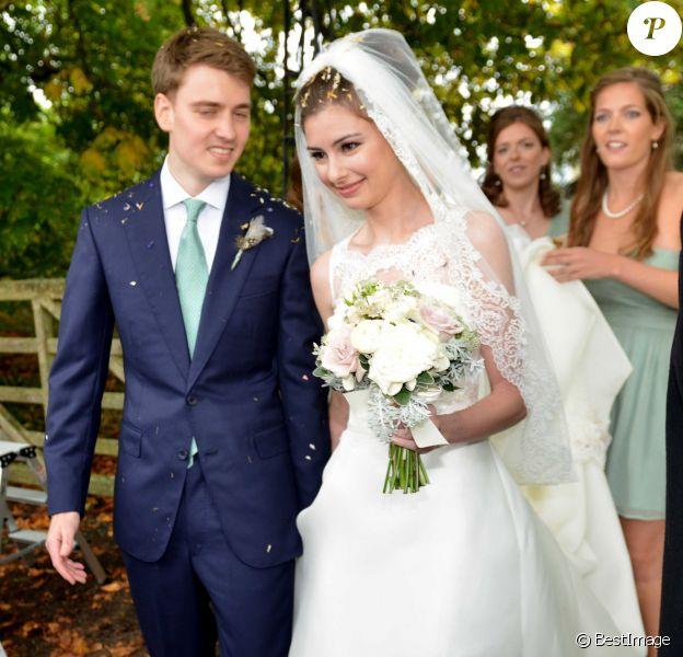 Euan Blair et Suzanne Ashman lors de leur mariageà Wooten Underwood, le 14 septembre 2013.