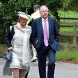 Lord Charles et Lady Marianna Falconerlors du mariage d'Euan Blair et Suzanne Ashmanà Wooten Underwood, le 14 septembre 2013.