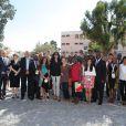 Yamina Benguigui, ministre déléguée chargée de la Francophonie, le prince Albert II de Monaco et Christian Estrosi, député-maire de Nice et président du Comité national des Jeux de la Francophonie, ont assisté dimanche 15 septembre 2013 à Nice à la cérémonie de clôture des VII Jeux de la Francophonie.