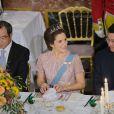 Frederik et Mary de Danemark au palais de Fredensborg le 18 septembre 2013 pour le dîner de gala en l'honneur du président du Vietnam Truong Tan Sang et son épouse Mai Thi Hanh, en visite d'Etat de trois jours.