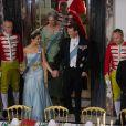 La princesse Marie et le prince Joachim de Danemark au palais de Fredensborg le 18 septembre 2013 lors du dîner officiel en l'honneur du président du Vietnam Truong Tan Sang et son épouse Mai Thi Hanh, en visite d'Etat de trois jours.