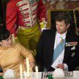 Frederik de Danemark au palais de Fredensborg le 18 septembre 2013 lors du dîner officiel en l'honneur du président du Vietnam Truong Tan Sang et son épouse Mai Thi Hanh, en visite d'Etat de trois jours.