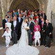 Photo de famille pour le mariage religieux du prince Felix de Luxembourg et Claire Lademacher en la basilique Sainte Marie-Madeleine de Saint-Maximin-la-Sainte-Baume dans le Var, samedi 21 septembre 2013.
