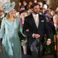 Le grand-duc héritier Guillaume de Luxembourg et la Princesse Stephanie - Mariage religieux de son frère le prince Felix de Luxembourg et Claire Lademacher en la basilique Sainte Marie-Madeleine de Saint-Maximin-la-Sainte-Baume dans le Var, samedi 21 septembre 2013.