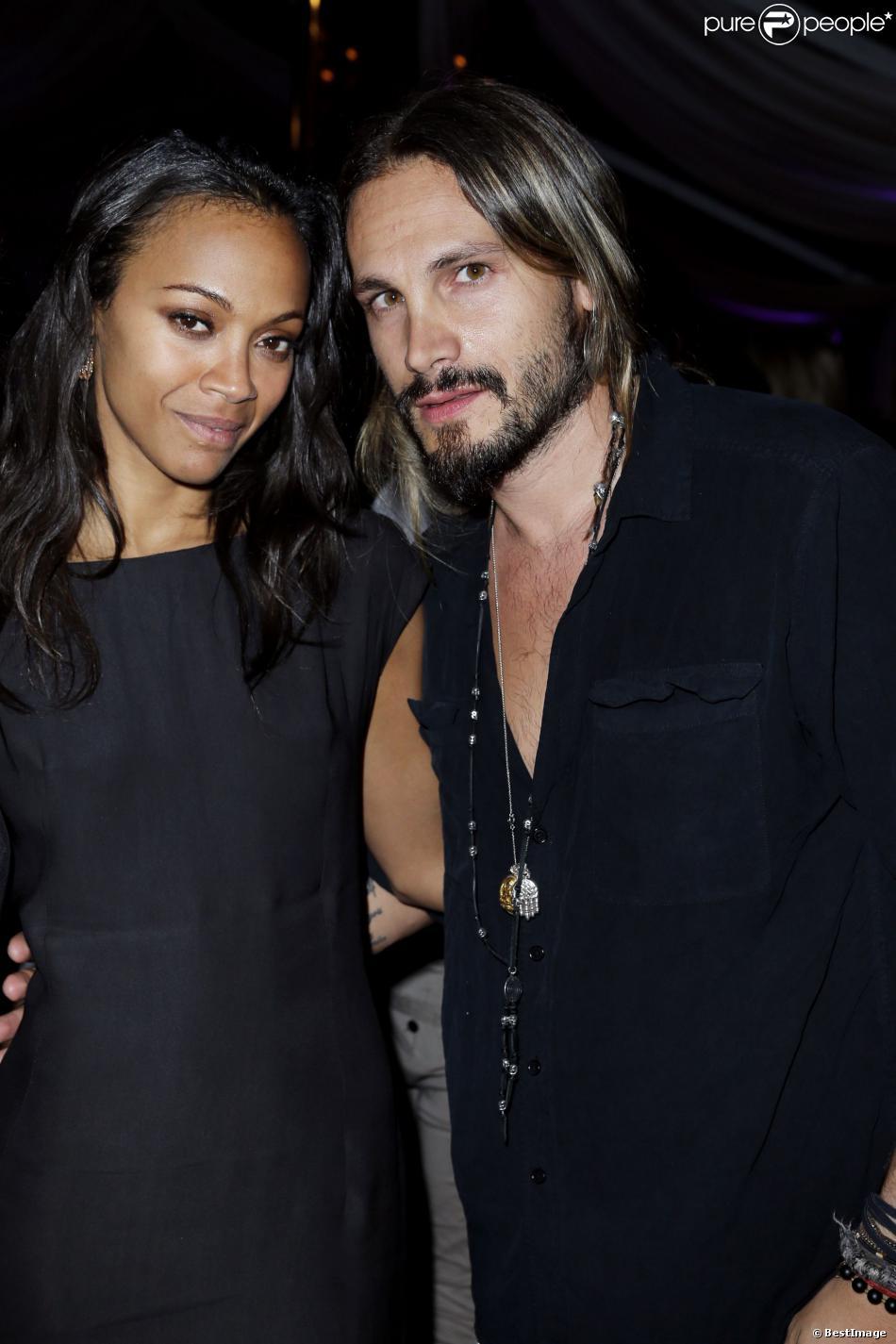 Exclusif - Zoe Saldana et son mari Marco Perego à la soirée Weinstein Company, organisée par Lexus et Chopard, à la plage du Baoli, lors du 66e Festival du film de Cannes, le 19 Mai 2013.