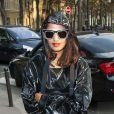 M.I.A.arrive au défilé Balenciaga le 26 septembre 2013 à Paris.