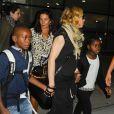 Madonna et ses enfants David, Mercy et Lourdes arrivent à New York en provenance de Londres le 3 septembre 2013.