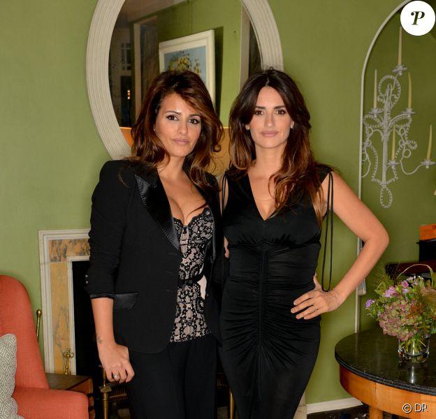Monica et Penélope Cruz célèbrent leur collection de lingerie créée pour Agent Provocateur lors d'un cocktail avec Net-A-Porter.com organisé à Londres le 9 octobre 2013