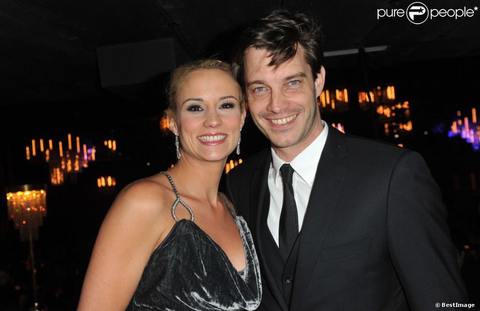 Elodie Gossuin et son mari Bertrand Lacherie à l'élection de Miss Prestige National 2013, au Lido, à Paris, le 10 décembre 2012.