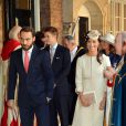 Pippa et James Middleton à la chapelle royale pour le baptême du prince George de Cambridge, 3 mois, le 23 octobre 2013 au palais Saint James, à Londres.