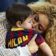 Shakira et son fils Milan à San Bernabeu le 19 septembre 2013 pour encourager le FC Barcelone de Gerard Piqué face à Séville.