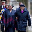 Desmond Tutu et son épouse Nomalizo Leah. L'archevêque sud-africain est un ami intime de la princesse Mabel. Famille royale, amis et collègues honoraient la commémoration solennelle du prince Friso d'Orange-Nassau, décédé le 12 août et enterré le 16 août, le 2 novembre 2013 en la Vieille Eglise de Delft (La Haye).