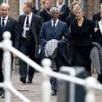 Kofi Annan et sa femme. Famille royale, amis et collègues honoraient la commémoration solennelle du prince Friso d'Orange-Nassau, décédé le 12 août et enterré le 16 août, le 2 novembre 2013 en la Vieille Eglise de Delft (La Haye).