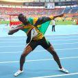 Usain Bolt après sa victoire sur 200m lors des championnats du monde d'athlétisme à Moscou, le 17 août 2013